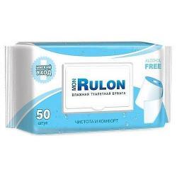 Влажная туалетная бумага Mon Rulon, c пластиковым клапаном, 50 штук