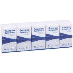 Платочки бумажные Premium, 3 слоя, 18x20 см, белые, 10 пачек по 10 штук (количество товаров в комплекте 10)
